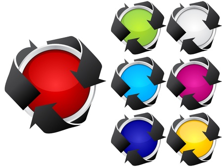 recycling buttons different colors Stock Vector - 10568022