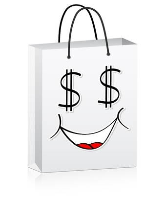 us currency: white shopping bag for advertising vector illustration