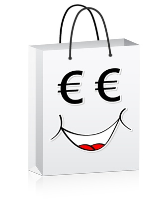 white shopping bag for advertising vector illustration