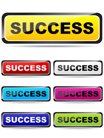 colorful buttons with success word Stock Vector - 10567845