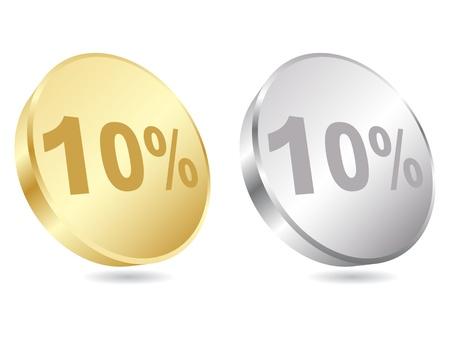 dix pour cent de rabais vecteur icône illustration