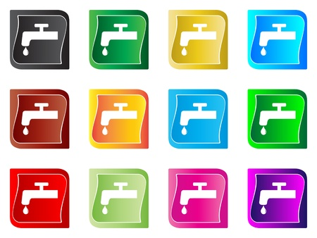 water tap buttons different colors Stock Vector - 10567920