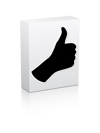 human hand giving ok on white box Stock Vector - 10567855