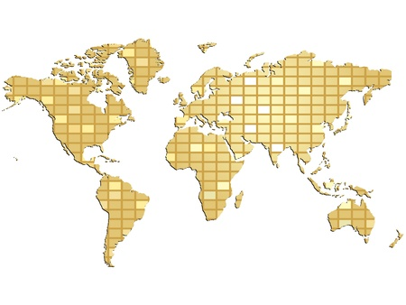 golden globe: abstract world map vector illustration