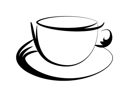 coffe cup contour vector illustration Illustration