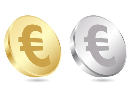 gold treasure: Euro coins vector illustration