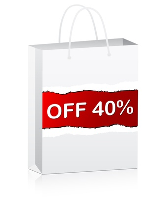 forty percent discount on shopping bag vector illustration Vector
