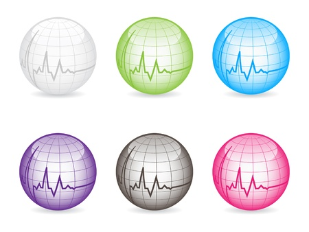 heart pulse on balls different colors vector illustration Vector