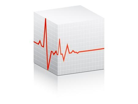 heart pulse illustration on white box Vector