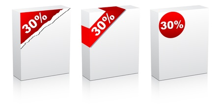 thirty: thirty percent discount on box vector illustration
