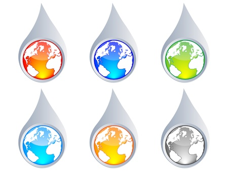 Water droplet with the earth inside different colors vector illustration Vector