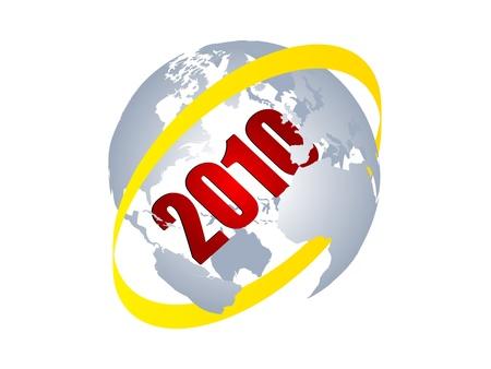 2010 year inside of world globe vector illustration  Illustration