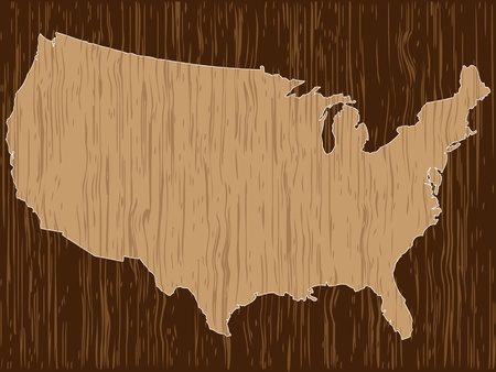 ligneous: american map wooden texture Illustration