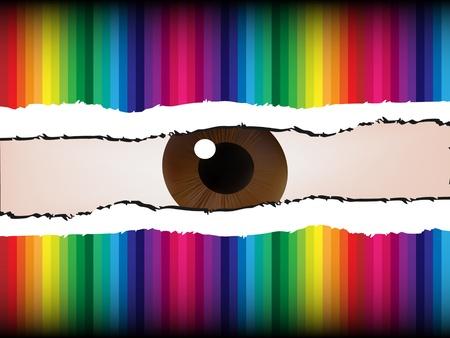 spoil: an eye peeking through the spoil paper Illustration