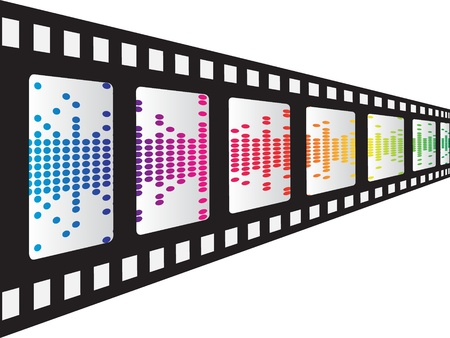 polygraph: filmstrip with pixels inside vector illustration Illustration