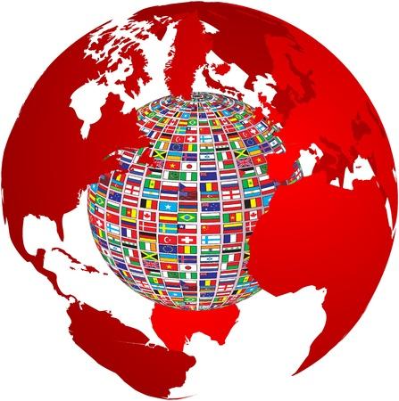 bandiera gran bretagna: trasparenza mappa del mondo con le bandierine del paese su di esso
