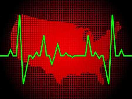 heart pulse of america vector illustration