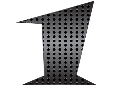 agenda browse: Number one metallic texture vector illustration Illustration