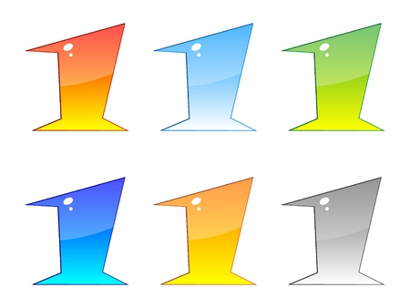 agenda browse: numbers one different colors vector illustration