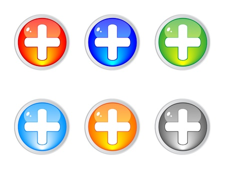 Modern plus buttons editable vector Stock Vector - 10740563