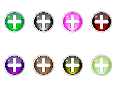 Modern plus buttons editable vector Stock Vector - 10740660