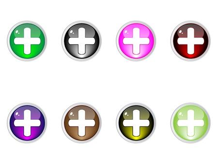 plus: Modern plus buttons editable vector Illustration