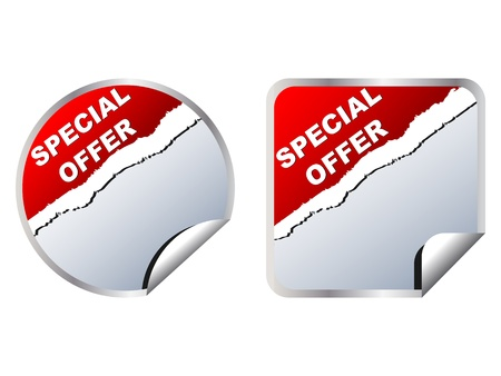 price cutting: special offer web stickers vector illustration