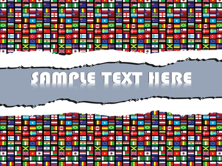 tear paper with world flags pattern Stock Vector - 10740513