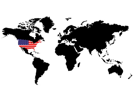 USA position in the world vector illustration Vector