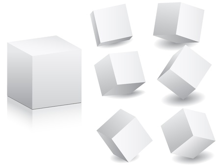 white boxes in different position vector illustrastion