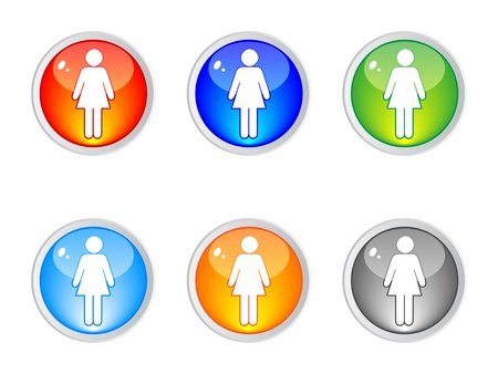 women toilet labels different colors vector illustration