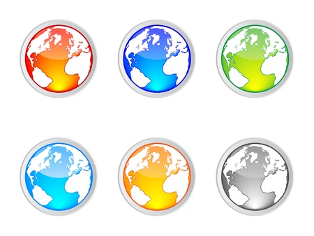 the land of menu: world map buttons vector illustration