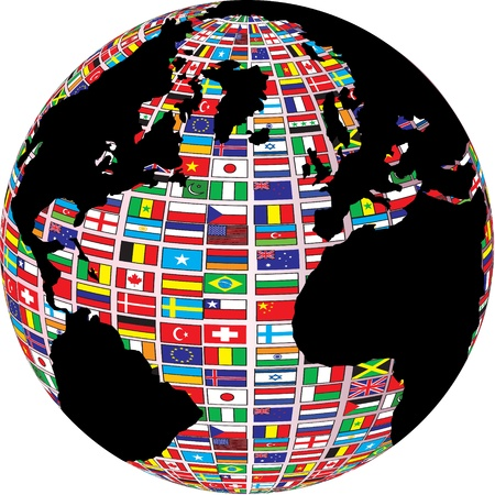 world map with country flags on it Vector