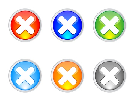 modern X web buttons different colors Stock Vector - 10740552