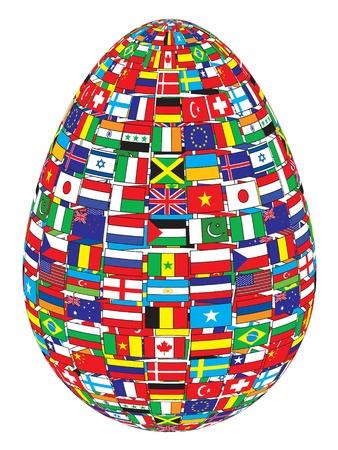 bandiere del mondo: uovo con disegno bandiere