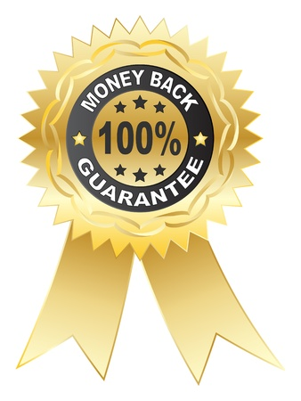 back button: 100 % GUARANTEE medal vector illustration Illustration