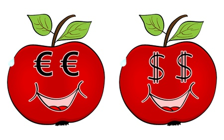 red apple with currency faces Vector