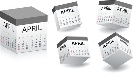 white box with april calendar on it Stock Vector - 10787573