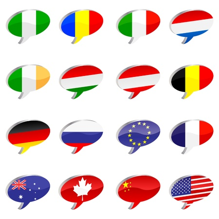 chat icons with flags Stock Vector - 10787570