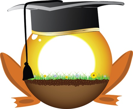 sunshine ball with graduation hat Vector
