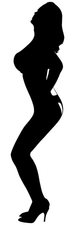 black breast: sexy woman silhouette  Illustration