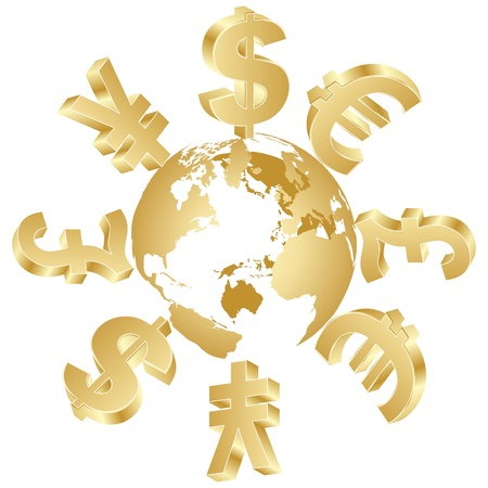 golden globe: money symbols around the world