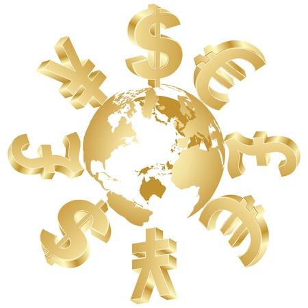 pieniądze: symbole pieniÄ™dzy na caÅ'ym Å›wiecie