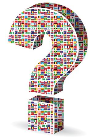 whose: punto di domanda con le bandiere del mondo Vettoriali