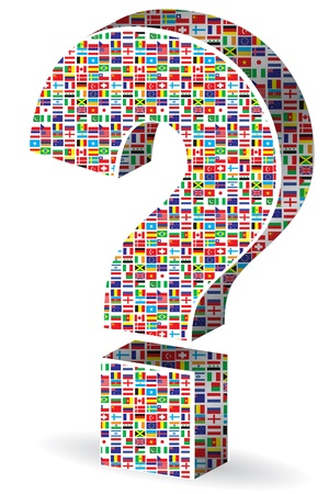 interrogation: question mark with world flags