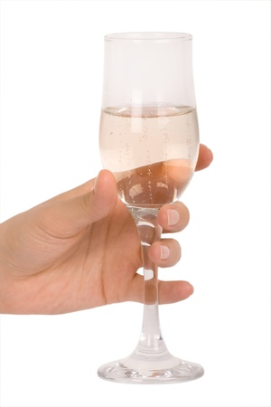 hand holding glass of champagne photo