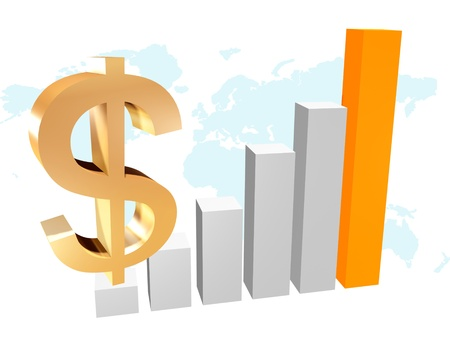 3d business chart with dollar Stock Photo - 10797645