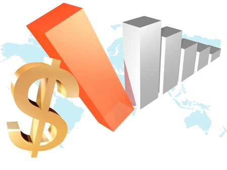 3d business chart with dollar  photo