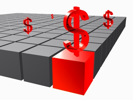3d composition of cubes with dollar on to photo