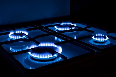 gas burner: flames of gas stove.